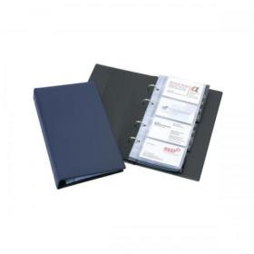 Durable Visifix Business Card Album 4-ring A-Z Index Capacity 200 W145xH255mm Dark Blue Ref 2385-07