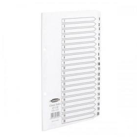 Concord Classic Index 1-20 Mylar-reinforced Punched 2 Holes 150gsm A5 White Ref 07201/CS72