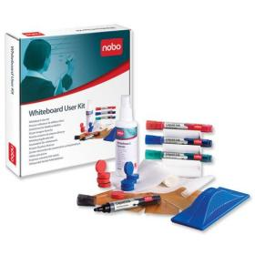 Nobo Whiteboard User Kit 4 Mrkrs/Eraser/Refills/Absorbent Cloths/125ml Cleaning Spray/Magnets Ref 1901430