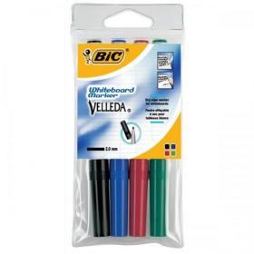 Bic Velleda Marker W/bd Dry-wipe 1741 Fine Bullet Tip 1.4mm Line Wallet Assorted Ref 1199001744 Pack of 4