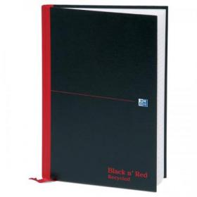 Black n Red Notebook Casebound 90gsm Ruled Recycled 192pp A4 Ref 100080530 Pack of 5