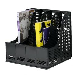 Cheap Stationery Supply of Storage Rack for Lever Arch Polypropylene 4 Sections Black Office Statationery