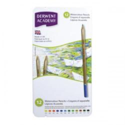 Cheap Stationery Supply of Derwent Academy Watercolour Pencils High-quality Pigments Assorted (Pack of 12 Pencils) 2301941 Office Statationery