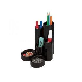 Desk Tidy with 6 Variable Sized Compartment Tubes Black