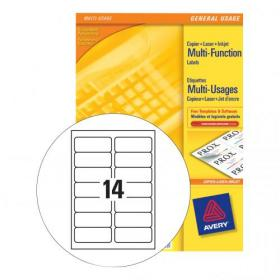 Avery Multipurpose Labels Laser Copier Inkjet 14 per Sheet 105x42.3mm White Ref 3653 1400 Labels