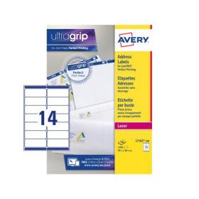 Avery Addressing Labels Laser Jam-free 14 per Sheet 99.1x38.1mm White Ref L7163-100 1400 Labels
