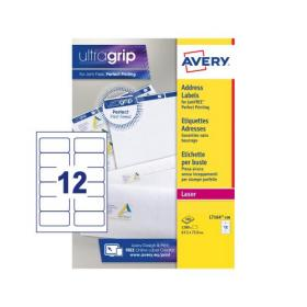 Avery Addressing Labels Laser Jam-free 12 per Sheet 63.5x72mm White Ref L7164-100 1200 Labels