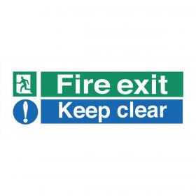 Stewart Superior Fire Exit Sign Keep Clear W450xH150mm Self-adhesive Vinyl Ref SP126SAV