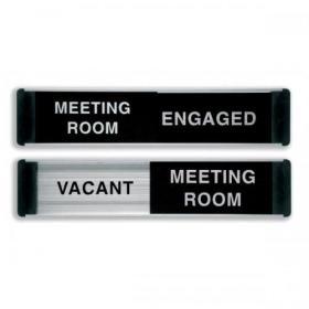 Stewart Superior Engaged/Vacant Meeting Room Door Panel Aluminium/PVC W255xH52mm Self-adhesive Ref BA101