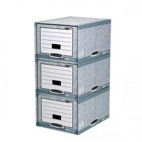 Bankers Box by Fellowes System Storage Drawer Stackable Grey/White FSC Ref 01820 Pack of 5