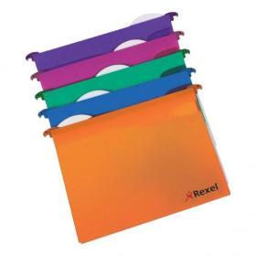 Rexel Multifile Extra Suspension File Polypropylene 30mm Wide-base Foolscap Assorted Ref2102574 Pack of 10