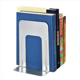 5 Star Office Large Bookends Metal Silver Pack of 2