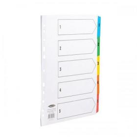 Concord Index 1-5 Multipunched Mylar-reinforced Multicolour-Tabs 150gsm Extra Wide A4+ White Ref CS96