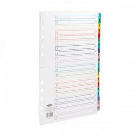 Concord Index 1-20 Multipunched Mylar-reinforced Multicolour-Tabs 150gsm Extra Wide A4+ White Ref CS99