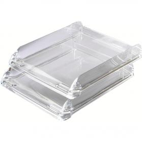 Rexel Nimbus Letter Tray Self-stacking Acrylic Clear Ref 2101504