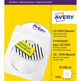 Avery CD/DVD Paper Sleeves with clear window 126x126mm White Ref SL1760-100 Pack of 100