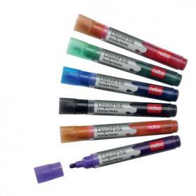 Nobo Marker Liquid Ink Dry-wipe W/bd/Flipchart/OHP Bullet Tip 3mm Line Wallet Asstd Ref 1901077 Pack of 6