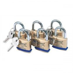 Cheap Stationery Supply of Draper Padlocks Solid Brass with Identical Keys -Two Keys 40mm (Pack 6) 67659 Office Statationery