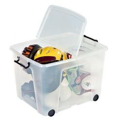 Cheap Stationery Supply of Strata Smart Box Clip-On Folding Lid Carry Handles 75 Litre Clear with Black Wheels HW676CLR Office Statationery
