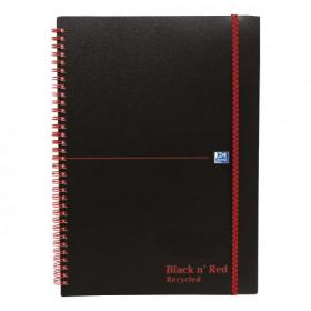 Black n Red Notebook Wirebound PP 90gsm Ruled Recycled and Perforated 140pp A5 Ref 100080221 Pack of 5