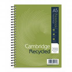 Cheap Stationery Supply of Cambridge Recycled Nbk Wirebound 70gsm Ruled Margin Perf Punched 2 Holes 200pp A5+ 100080106 Pack of 3 Office Statationery