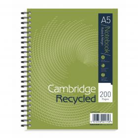 Cambridge Recycled Nbk Wirebound 70gsm Ruled Margin Perf Punched 2 Holes 200pp A5+ Ref 100080106 Pack of 3