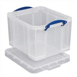 Cheap Stationery Supply of Really Useful Storage Box Plastic Lightweight Robust Stackable 35 Litre W390xD480xH310mm Clear 35C Office Statationery