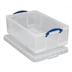 Cheap Stationery Supply of Really Useful Storage Box Plastic Lightweight Robust Stackable 50 Litre W440xD710xH230mm Clear 50C Office Statationery