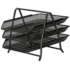 5 Star Office Mesh Letter Tray 3 Tier Scratch Resistant Stackable Front Load Portrait Foolscap Black