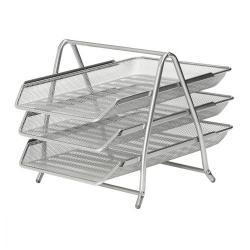Cheap Stationery Supply of 5 Star Office Mesh Letter Tray 3 Tier Scratch Resistant Stackable Front Load Portrait Foolscap Silver Office Statationery