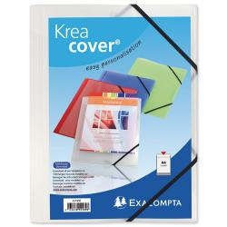 Cheap Stationery Supply of Exacompta Krea Cover (A4) Opaque Polypropylene 3-Flap Folder with Elastic Straps (Clear) 55188E Office Statationery