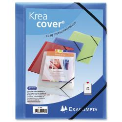 Cheap Stationery Supply of Exacompta Krea Cover (A4) Opaque Polypropylene 3-Flap Folder with Elastic Straps (Blue) 55182E Office Statationery
