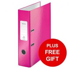 Leitz WOW Lever Arch File 80mm Spine for 600 Sheets A4 Pink  10050023 Pack of 10 REDEMPTION Apr-Jun20