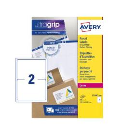Avery Parcel Labels Laser Jam-free 2 per Sheet 199.6x143.5mm White Ref L7168-100 200 Labels