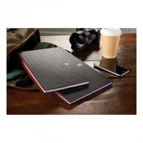 Black n Red Notebook Wirebound 90gsm Ruled Margin Perforated 140pp A4+ Matt Black Ref 100080218 Pack of 5