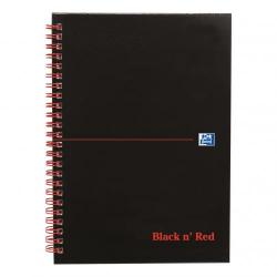Cheap Stationery Supply of Black n Red Notebook Wirebound 90gsm Ruled Margin Perforated 140pp A5+ Matt Black 100080192 Pack of 5 Office Statationery