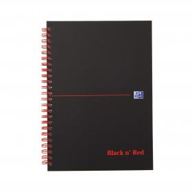 Black n Red Notebook Wirebound 90gsm Ruled and Perforated 140pp A5 Matt Black Ref 100080154 Pack of 5