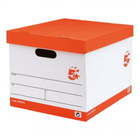 5 Star Office FSC Storage Box with Lid Self-assembly W321xD392xH291mm Red & White Pack of 10