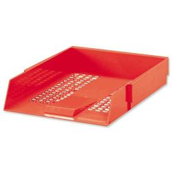 Cheap Stationery Supply of 5 Star Office Letter Tray High-impact Polystyrene Foolscap Red Office Statationery