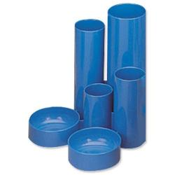 Cheap Stationery Supply of 5 Star Office Desk Tidy with 6 Compartment Tubes Blue Office Statationery