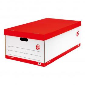 5 Star Office FSC Jumbo Storage Boxwith Lid Self-assembly W431xD725xH277mm Red & White Pack of 5