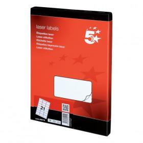 5 Star Office Multipurpose Labels Laser Copier Inkjet 21 per Sheet 63.5x38.1mm White 2100 Labels