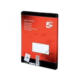 5 Star Office Multipurpose Labels Laser Copier Inkjet 16 per Sheet 99.1x34mm White 1600 Labels