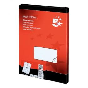 5 Star Office Multipurpose Labels Laser Copier Inkjet 8 per Sheet 99.1x67.7mm White 800 Labels