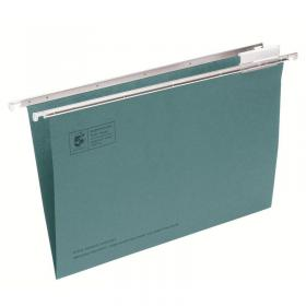5 Star Office Suspension File with Tabs and Inserts Manilla 15mm V-base 180gsm Foolscap Green Pack of 50