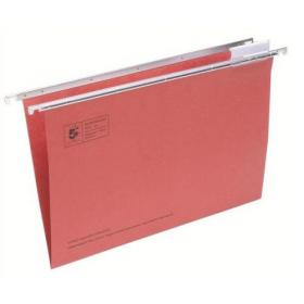 5 Star Office Suspension File with Tabs and Inserts Manilla 15mm V-base 180gsm Foolscap Red Pack of 50