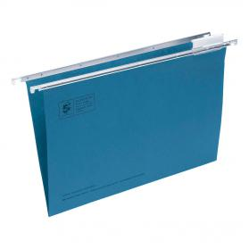 5 Star Office Suspension File with Tabs and Inserts Manilla 15mm V-base 180gsm Foolscap Blue Pack of 50