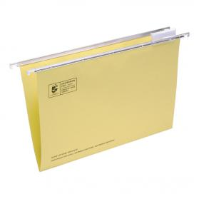 5 Star Office Suspension File with Tabs and Inserts Manilla 15mm V-base 180gsm Foolscap Yellow Pack of 50