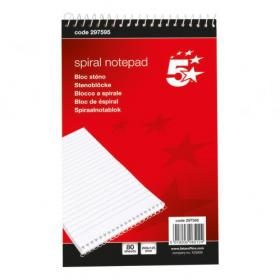 5 Star Office Shorthand Pad Wirebound 60gsm Ruled 160pp 127x200mm Red Pack of 10