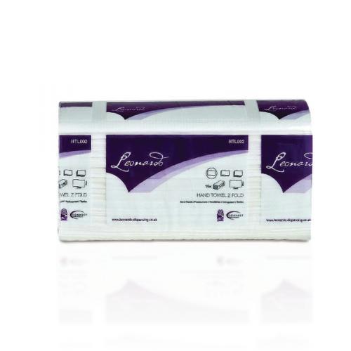 Paper Hand Towels Leonardo 2 ply White Laminated Z Fold Towels 3000 Per Case